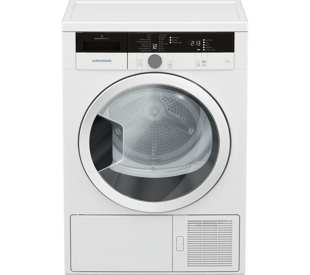 GRUNDIG GTN28240GW 8 kg Heat Pump Tumble Dryer - White, White